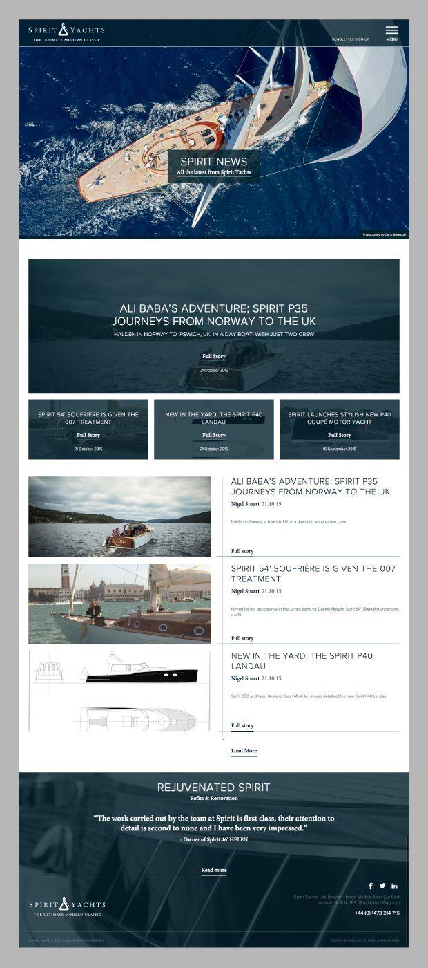 Master yacht builders, Spirit Yachts new website #website #yacht #spirityacht #design #sail See the porfolio of the work on Spirit Yachts here http://www.kingslandlinassi.com/projects/spirit-yachts/