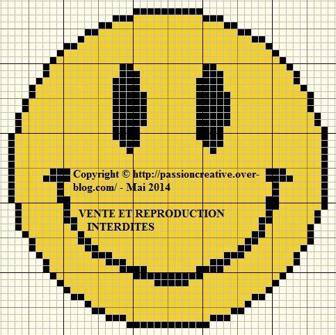 Grille gratuite point de croix : smiley 1