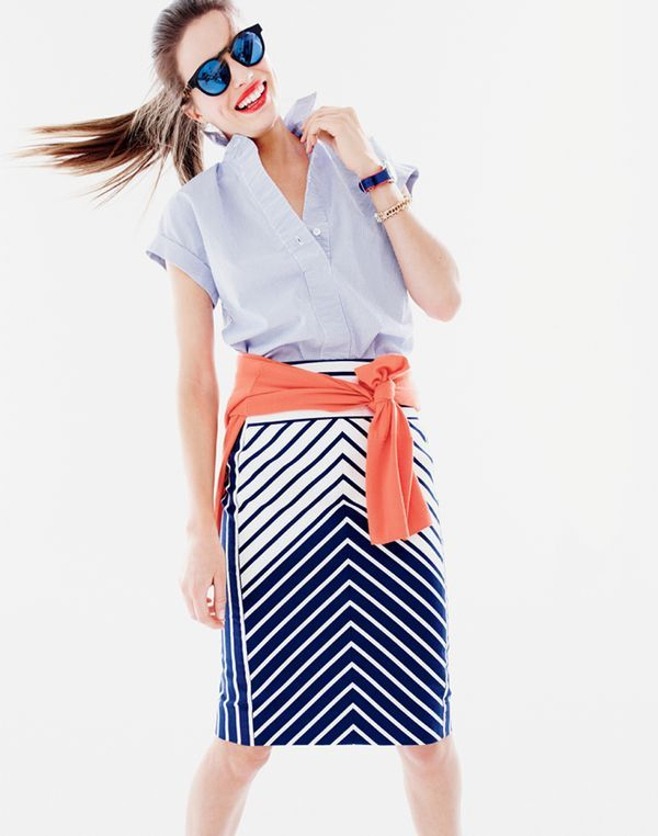 J.Crew women's short-sleeve popover shirt in stripe, pencil skirt in chevron stripe and Illesteva™ for J.Crew Leonard blue mirrored sunglasses.