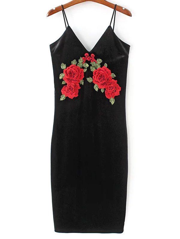 Embroidered Velvet Cami Dress - BLACK S