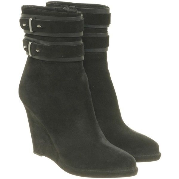 Pre-owned Ankle boots with wedge heel ($245) ❤ liked on Polyvore featuring shoes, boots, ankle booties, black, wedge ankle boots, black wedge booties, black ankle boots, black ankle booties and black bootie