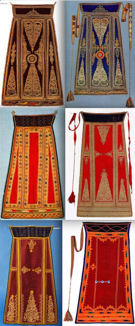 The underapron, the mesa podia is made of silk. Over this is worn the podia; on festive occasions by those who can afford one. It is covered with elaborate cord embroidery. This type of apron is not found in any other Greek costume. But see this Vlach costume from Sqepur in Albania. This might give some insight into the origin of the Karagouni of Thessaly, Greece