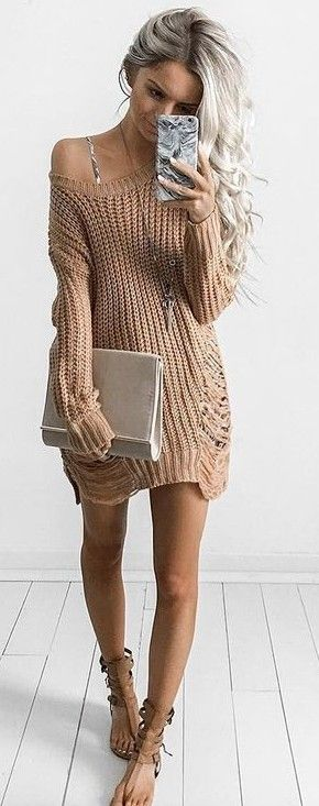 #summer #trending #fashion | Dusty Rose Sweater Dress