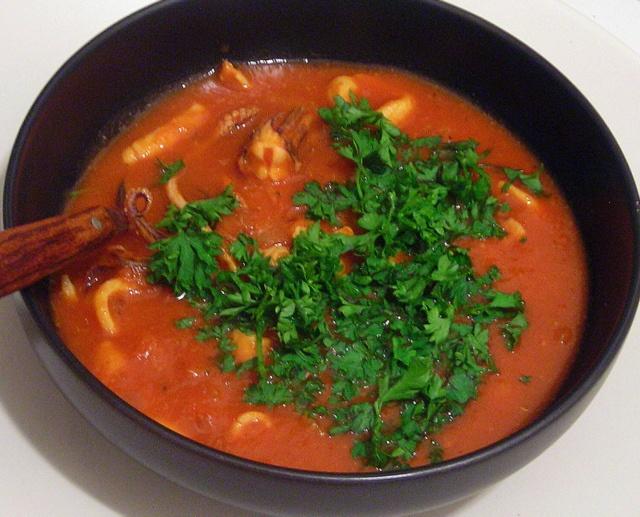 Squid stew with belgian beer