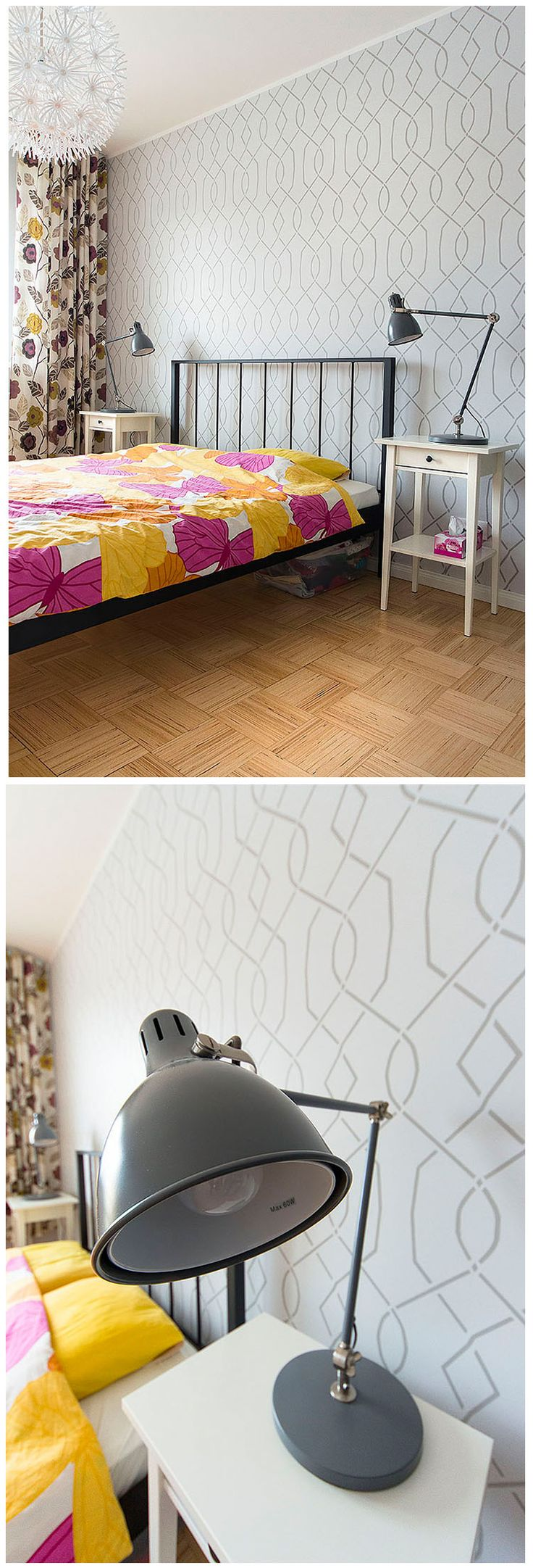 94 best wall stencils images on pinterest wall stenciling a touch of color and patterns to this beautiful scandinavian interior moorish trellis wall stencil amipublicfo Image collections