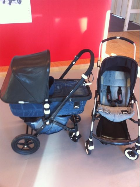 Doutzen Kroes's exclusive Bugaboo. She was invited to Bugaboo headquarters when pregnant to design her own Bugaboo. Base is blue denim, hood is black leather on all black chassis.