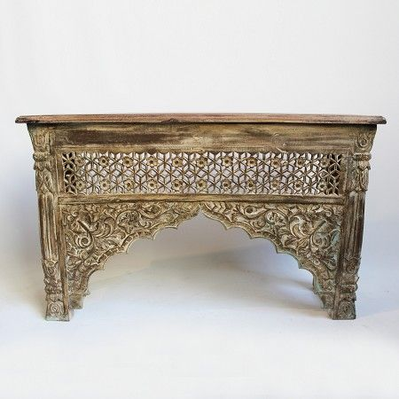 Hand Carved Mango Wood Jali Work architectural console table. //  MIXfurniture