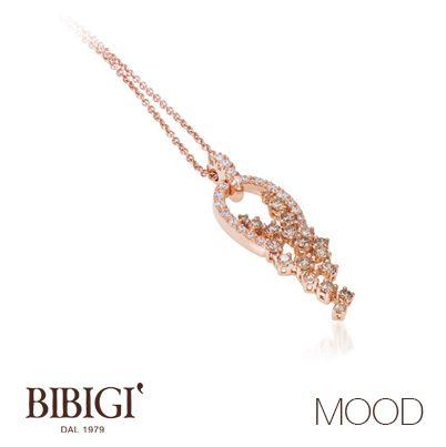 #bibigì #mood Collana in oro rosso, brillanti brown e diamanti. Più retrò o più classica, Mood propone le versioni in oro rosso e oro bianco per qualsiasi stato d'animo.