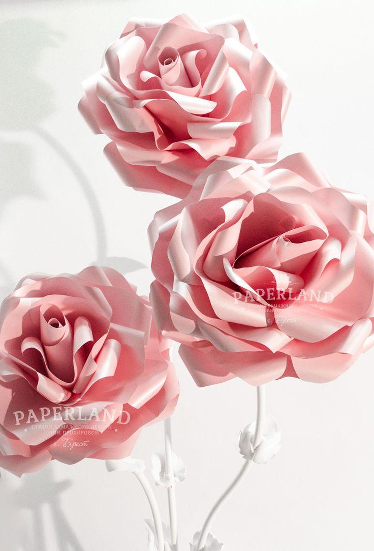 Розовые розы из бумаги