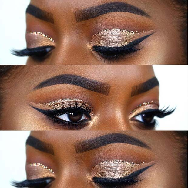 Festive Gold Eye Makeup Look For Dark Skin Gold Eye Makeup Dark Skin Makeup Eye Makeup