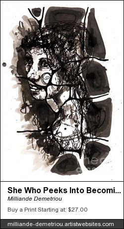 Milliande Demetriou Art Prints Ralire Study , Contemporary Fine Art Pen and Ink Painting, Prints , Canvas Prints and Iphone Cases Available