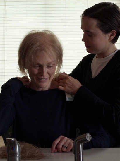 Julianne Moore as Laurel Hester - shaving