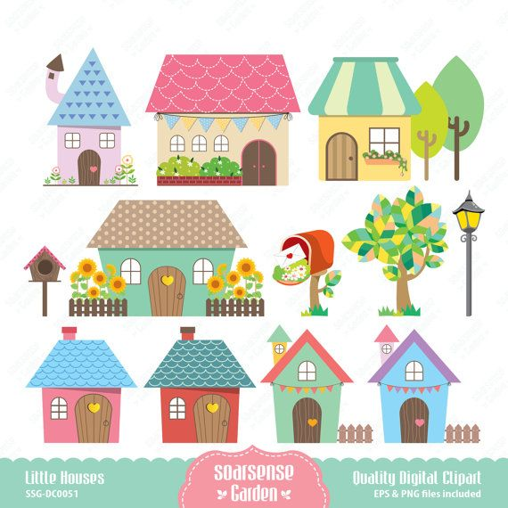 Little Houses Digital Clipart, Home Clip Art