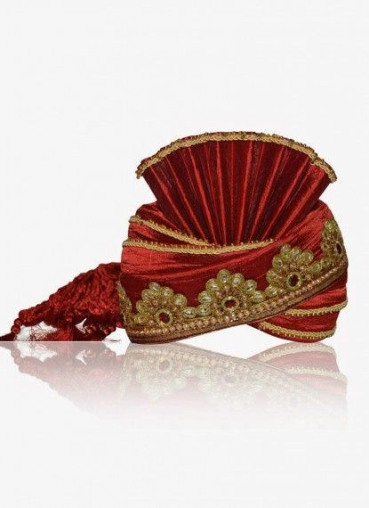 Vermilion Red Rawsilk Turban