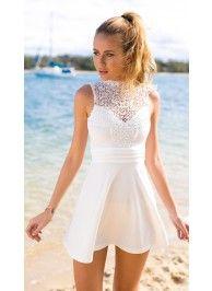 White High Neckline Crochet Skater Dress