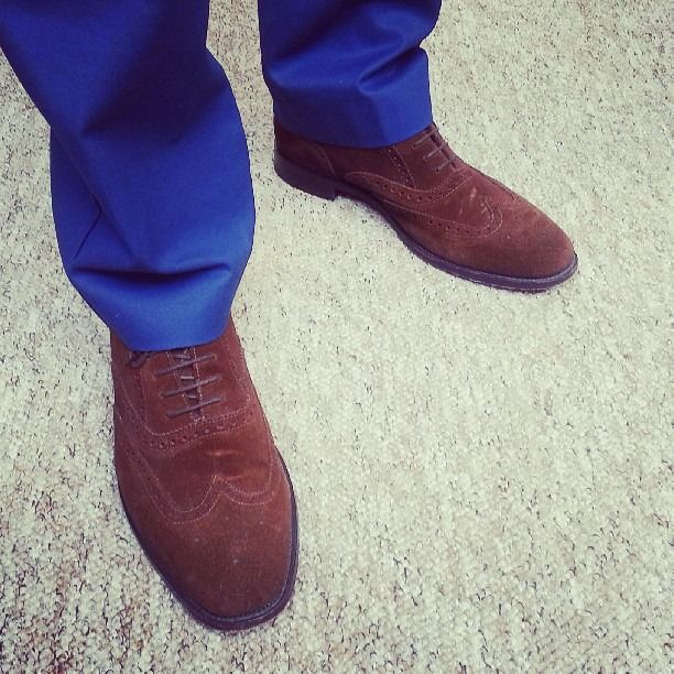 Electric blue trousers with chocolate brown brogues, awesome
