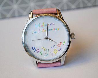 Tout ce que je suis fin de toute façon montre drôle montre anniversaire cadeau femmes Montres hommes Montres cadeaux pour petite amie poignet bracelet en cuir montre