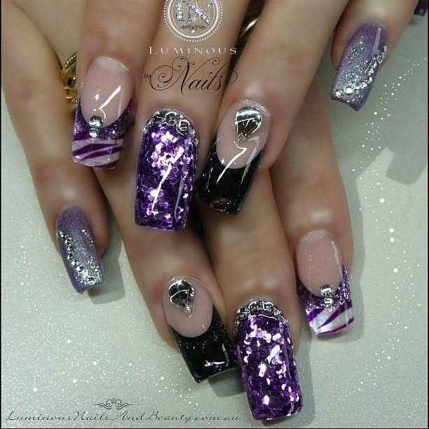 Opal Glitter Nail Polish: Zebra Print Nails With Black Opal