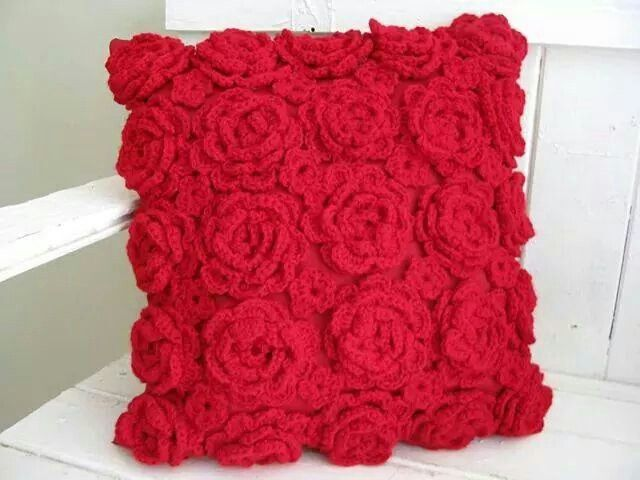 Chrochet rose cushion
