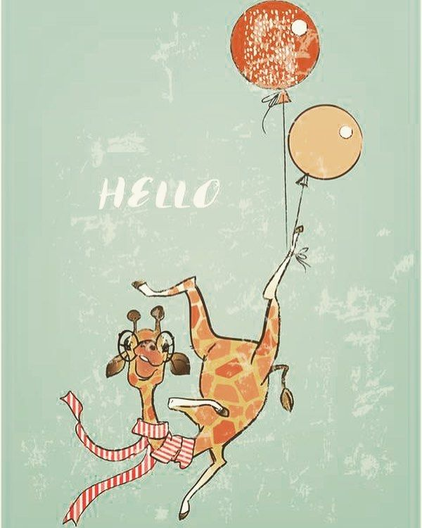Eve_Farb Hi #illustration #animallovers #cute #childrenillustration #art #artwork #illustrator #vectorart #lovely #birthday #card #drawing #giraffe