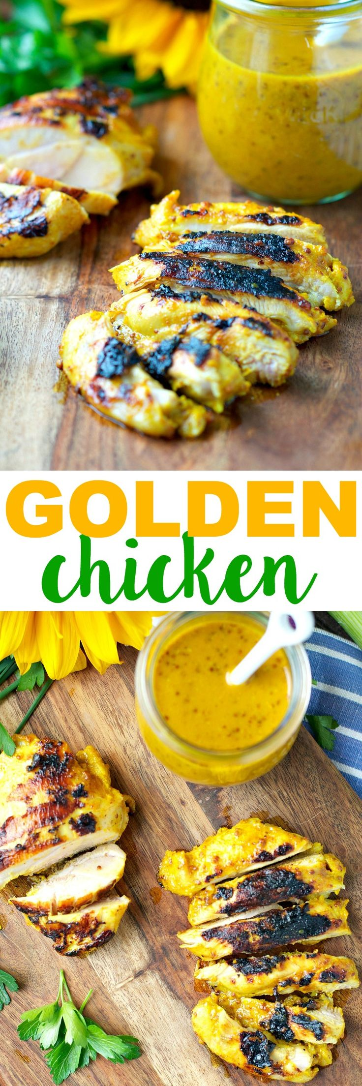 This light and crispy Golden Chicken is marinated in a honey dijon sauce and seasoned with just the right amount of turmeric for a healthy, flavor-packed dinner that's ready in only 20 minutes!