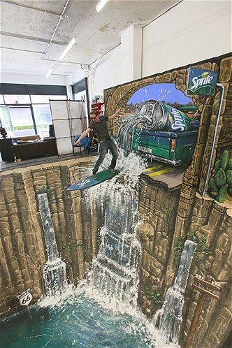 Surf surreal: Sprite Europa promoveu essa interação com arte 3D em julho de 2012 especialmente para uma campanha publicitária