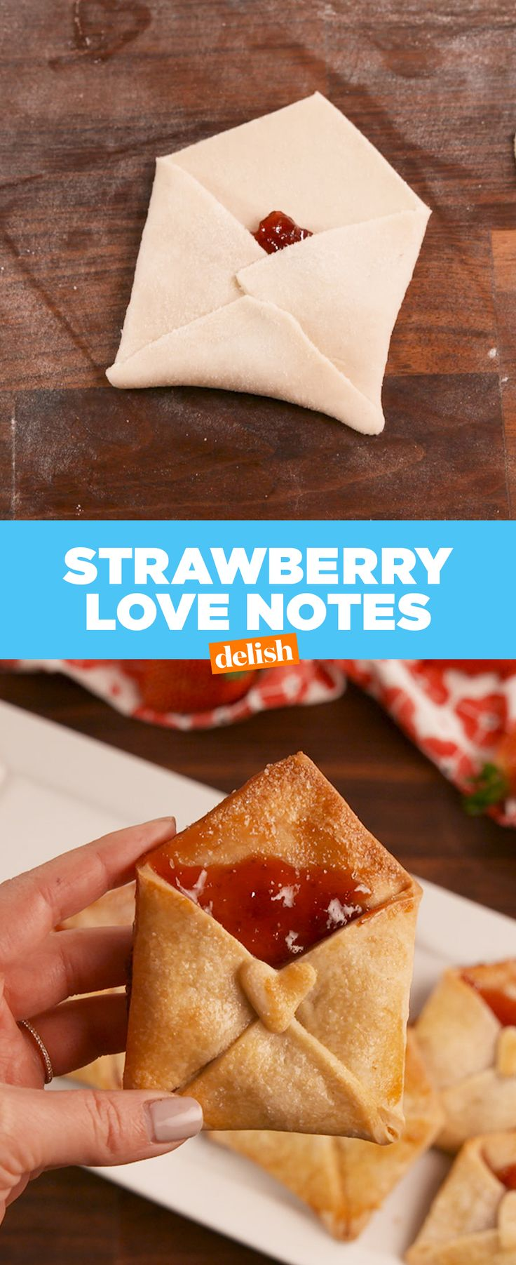 These Strawberry Love Notes are so much better than a Valentine's Day card. Get the recipe at Delish.com. #recipe #easyrecipe #valentinesday #valentine #valentinesdaygiftideas #valentinecraft #strawberry #pie #crust #dessert #holiday #jam
