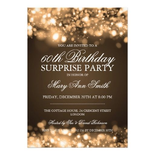 Surprise Birthday Party Gold Sparkling Lights Personalized Invite