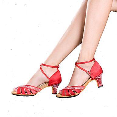 Dansesko(Sort+/+Blå+/+Rød)+-Kan+tilpasses-Cubanske+hæle-Damer-Latin+/+Samba+–+DKK+kr.+257
