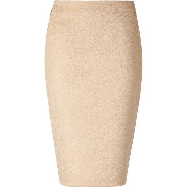 AKRIS Beige Pencil Skirt ($452) ❤ liked on Polyvore