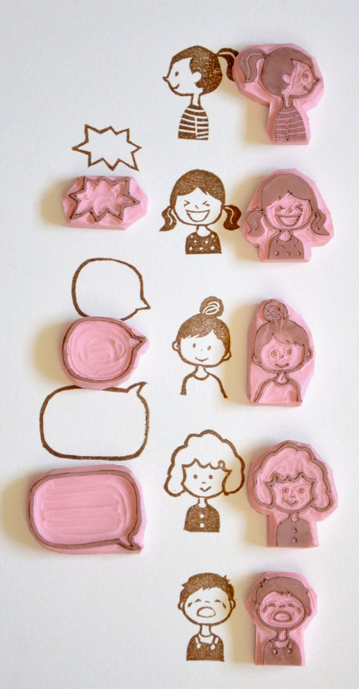 Hand Carved Rubber Stamp / set of 8 / comics