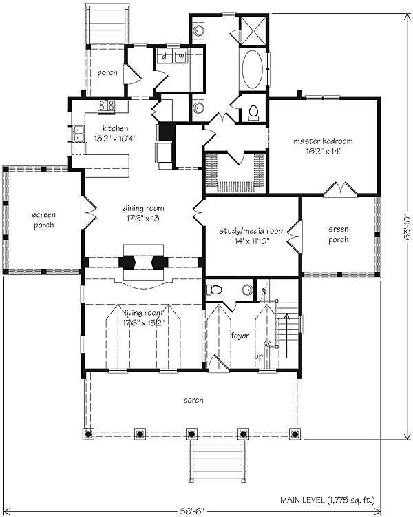 Eastover cottage reverse plan eastover cottage Reverse living home plans
