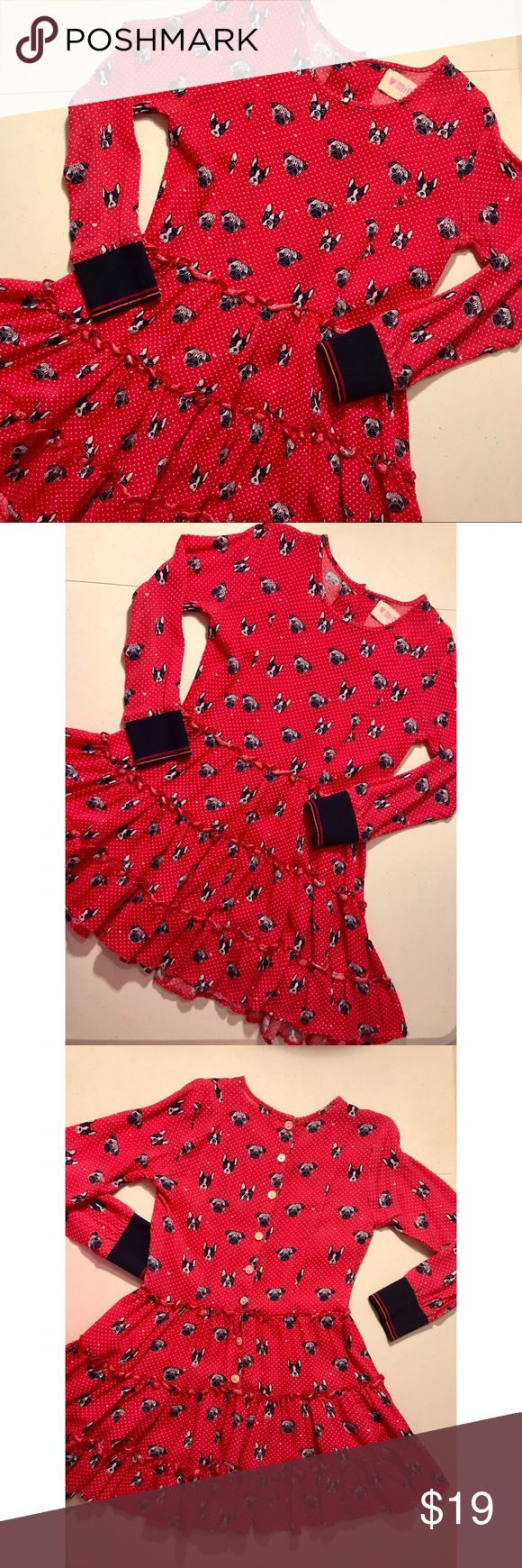 Dog Printed Polka Dot Long Sleeve Dress Mim Pi Girls Size 116/6 Y Dog Printed Polka Dot Long Sleeve Dress & Tights. No holes or stains. Smoke free home. GREAT condition Mim-pi Dresses Casual