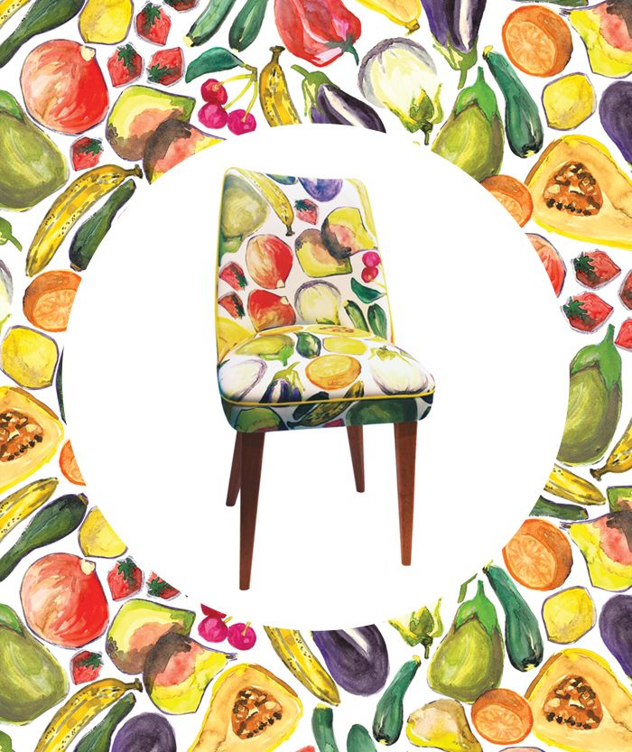 A pair of these fun chairs in EDIT's 'Fruit & Veg' fabric are new in store.