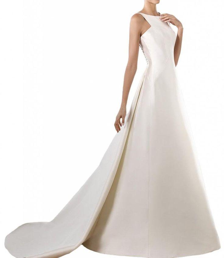 ... Rundkragen Satin Brautkleider Hochzeitskleider: Amazon.de: Bekleidung