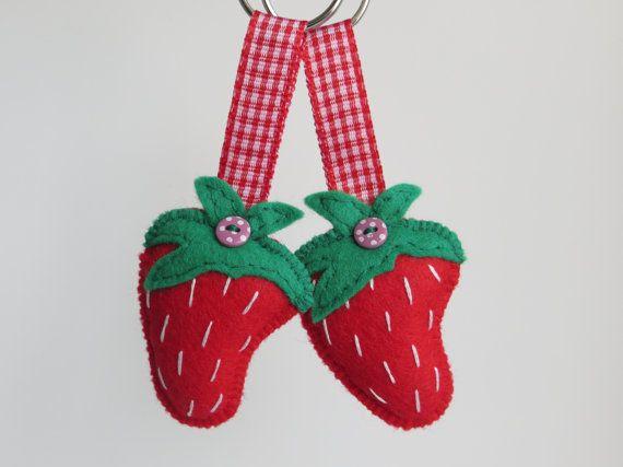 Hand sewn felt strawberry keyring by MisHelenEous on Etsy