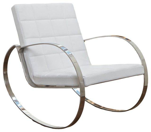 Furniture Comfortable and Charming Modern Rocking Chair: White Ica Modern Rocking Chair With Stainless Steel Frame