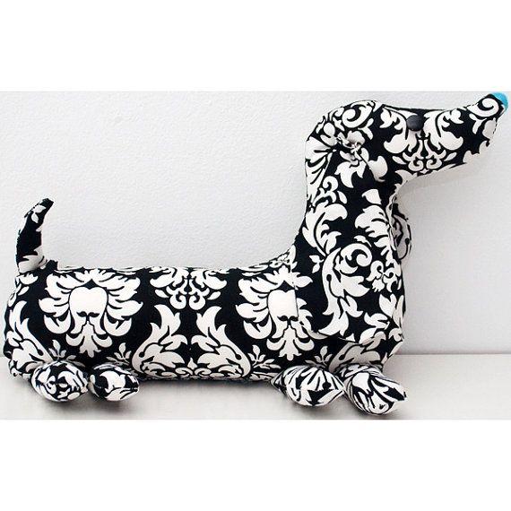 Dachshund Soft Toy - Damask Pattern Fabric