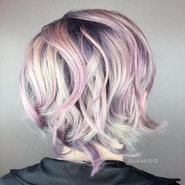 Short Hairstyle With Lavender Highlights