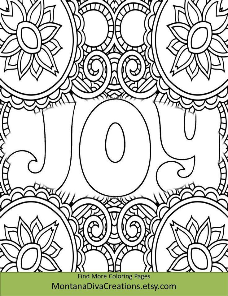 Joy Christmas Coloring Sheet Pretty Pattern Printable