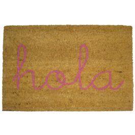 Felpudo HOLA rosa. Felpudo de fibra de coco y base de goma antideslizante. Original y divertido. #doormat #felpudo #entrada #puerta #recibidor