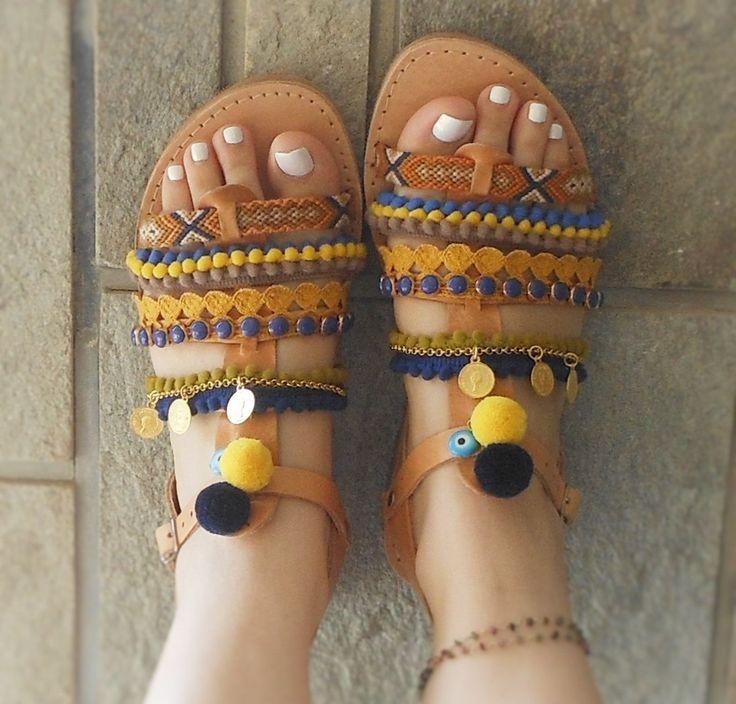 KLEOPATRA Spartan Greek Leather Sandals with pom poms, friendship bracelets charm coins, evil eyes, boho hippie chic style gladiator…