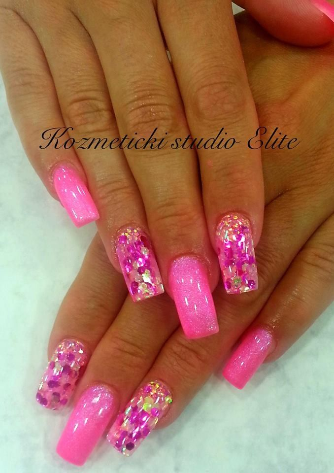 Spring nail designs with glitter : Spring summer nail art pink glitter