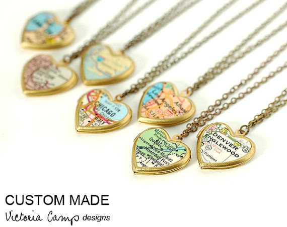 Custom Map Necklace Small Heart Locket by VictoriaCampDesigns, $35.00