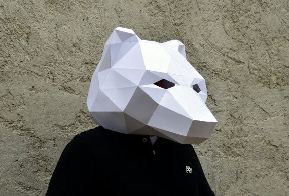 Make Your Own Bear Mask.  Papercraft  bear mask  by PlainPapyrus