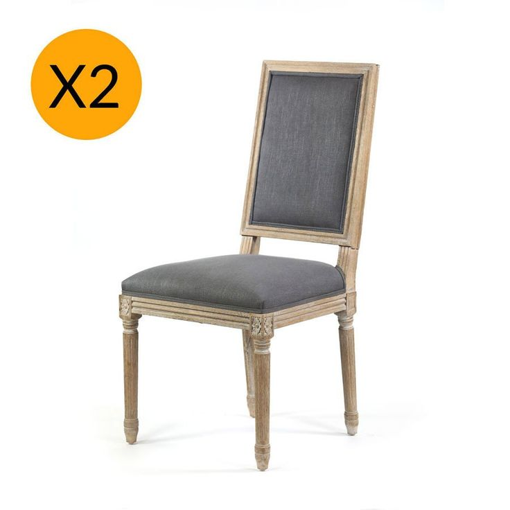 X2 French Provincial Square Side Dining Chair Wolf Grey - Black Mango