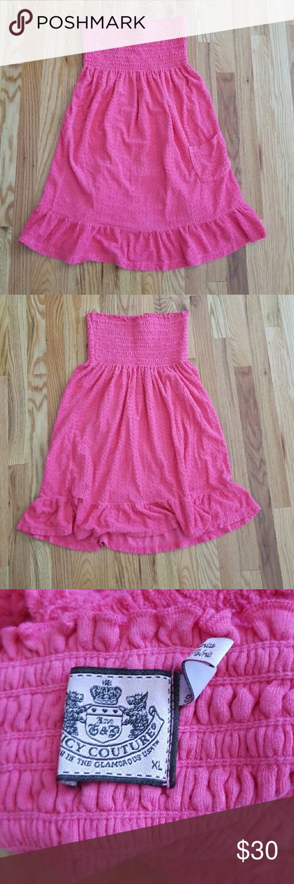 Beach Cover Up Juicy Couture pink 💓 printed Terry cloth material! This dress has alittle ruffle on the edge of the skirt. Its great for lunch by the beach, walking on the boardwalk or a cover up after a swim! It's banded top makes for a comfortable stretchy tube top. Size XL can stretch but will fit better as a size large. Juicy Couture Dresses