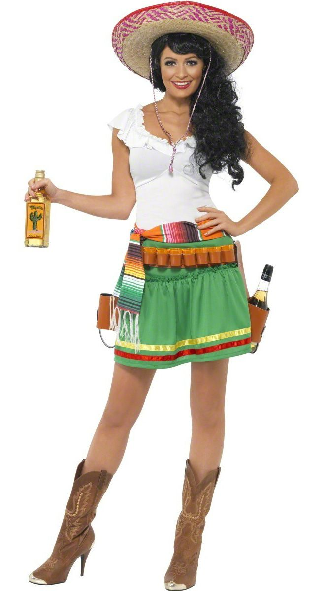 Déguisement serveuse mexicaine femme : Ce déguisement de serveuse mexicaine pour femme se compose de trois éléments. Une robe avec petits liserés en tissu léger est assez près du corps, mettant...