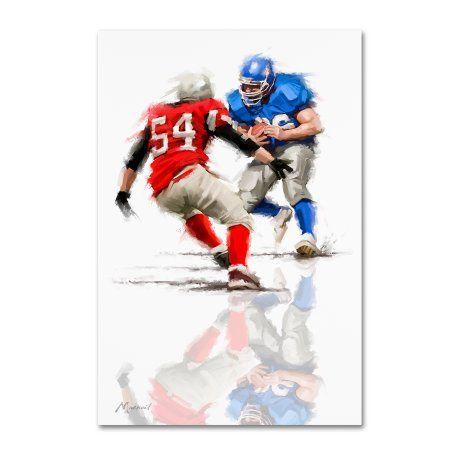 Trademark Fine Art 'American Football' Canvas Art by The Macneil Studio, Red