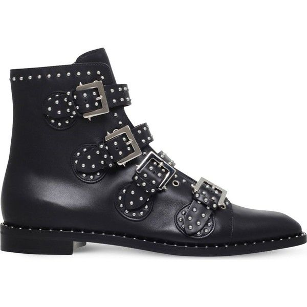 GIVENCHY Studded leather ankle boots ($1,170) ❤ liked on Polyvore featuring men's fashion, men's shoes, men's boots, mens leather shoes, mens studded shoes, mens leather boots, givenchy mens shoes and mens leather ankle boots